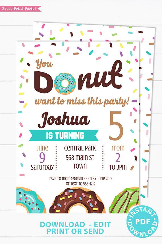 Donut birthday party invitation instant download for printed and digital invitation with envelope label - blue donut and sprinkles- Press Print party