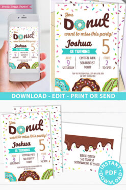 Donut party invitation instant download for printed and digital invitation with envelope label - blue donut and sprinkles- Press Print party