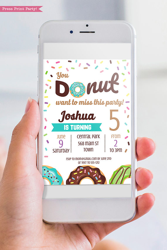Donut invitation template for digital invitation for email - Blue donut - Press print party