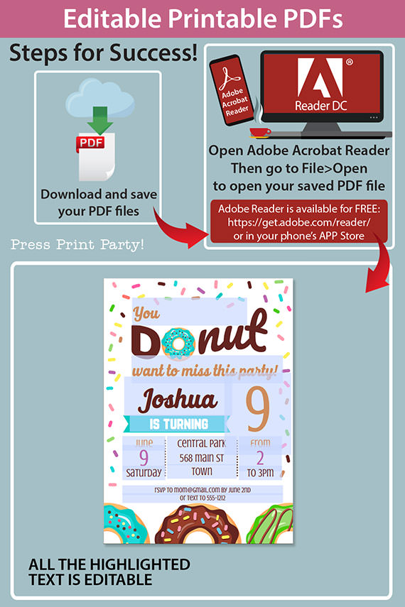 editable printable pdfs how do the invitation work in adobe reader. Blue donut invitation template editable download. Press Print Party