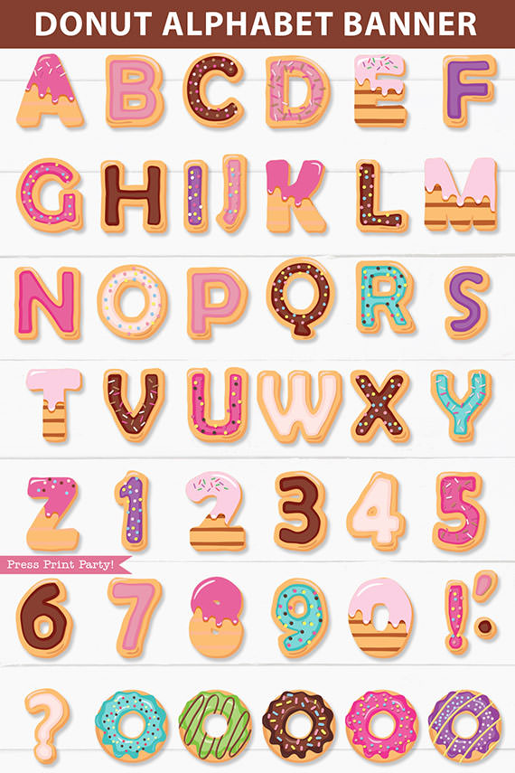 Donut alphabet letters and numbers. Donut banner party supplies printable. Press Print Party