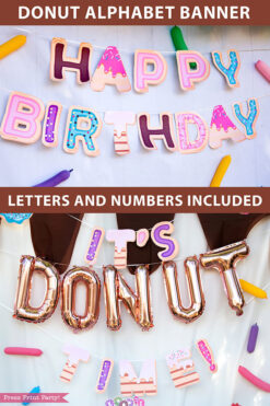 Happy birthday donut birthday alphabet banner garland. photo booth and dessert table backdrop. Press Print Party!