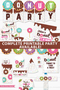 Donut Party printable supplies bundle. Banner garland, donut party invitation template, cupcake wrappers and toppers, sign, thank you card, birthday hat, favor boxes, popcorn boxes, wall decorations and lots more. Press Print Party
