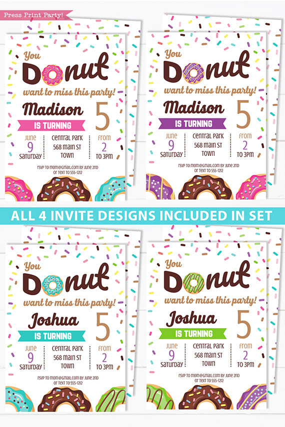Donut party birthday invitation template or for baby shower. 4 donut colors for girls or boys. pink, purple, blue, and green. Press Print Party