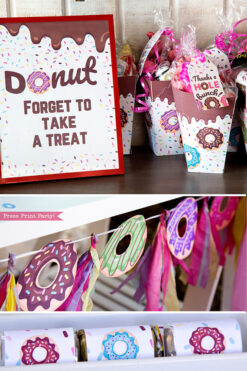 donut party ideas and supplies printable. dont forget to take a treat sign and popcorn favor boxes with favours and a thanks a hole bunch tag. Press Print Party