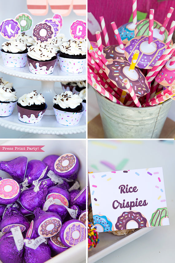 Donut party printable supplies - cupcake wrappers and toppers, kiss labels, place cards. donut party ideas Press Print Party