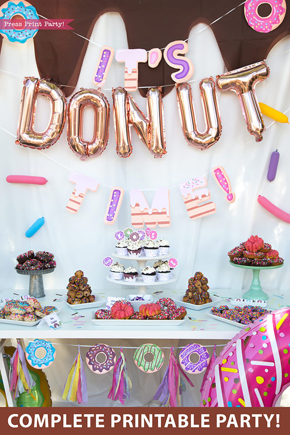Donut party dessert table with balloons and printable supplies donut themed decorations and invitation ideas diy template Press Print Party