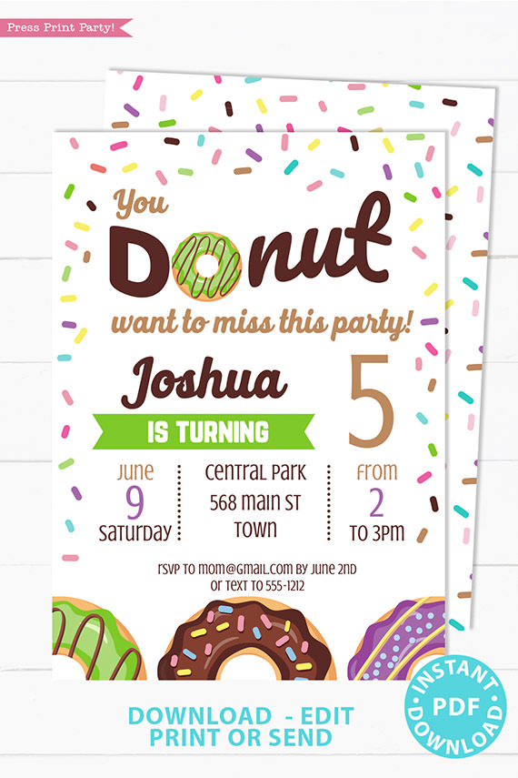 Donut party invitation instant download for printed and digital invitation with envelope label - green donut and sprinkles- Press Print party