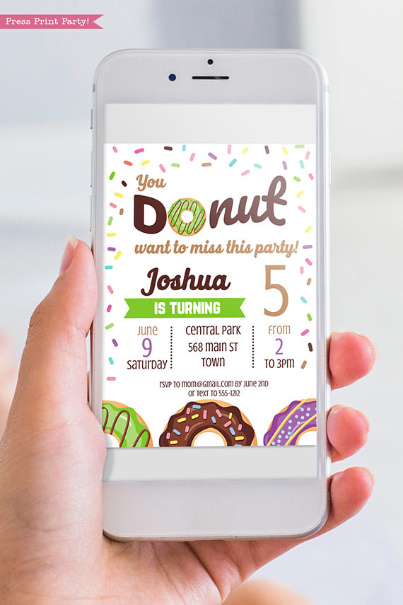 Donut invitation template for digital invitation for email - green donut - Press print party