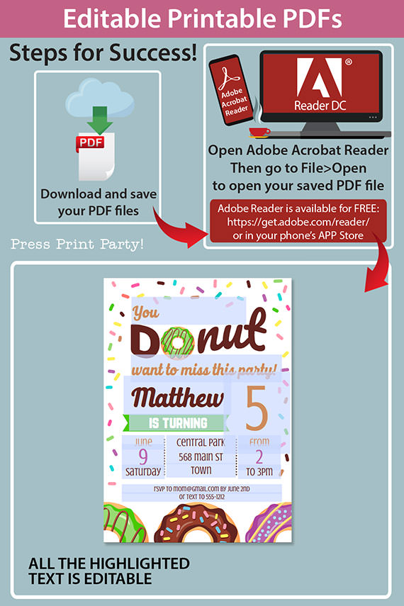 editable printable pdfs how do the invitation work in adobe reader. Green donut invitation template editable download. Press Print Party