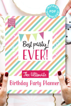 Best Party Ever the Ultimate Birthday Party Planner with cake and hands Press Print Party! Instant download pdf