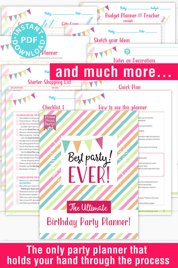 Best Party Ever the Ultimate Birthday Party Planner Press Print Party! Instant download pdf all the pages shown 5 birthday party checklist, 11 core pages, 12 support pages.
