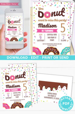 Donut party invitation instant download for printed and digital invitation with envelope label - pink donut and sprinkles- Press Print party
