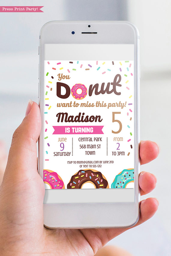Donut invitation template for digital invitation for email - pink donut - Press print party