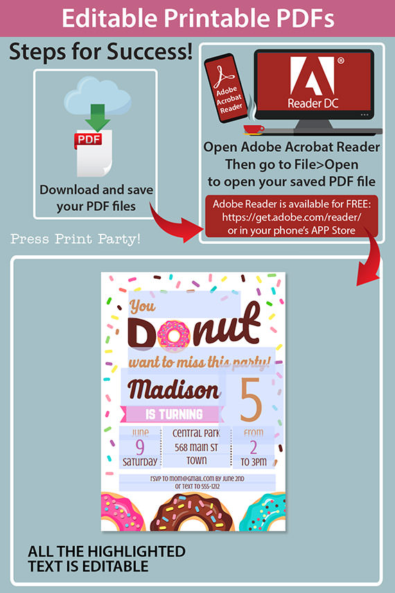 editable printable pdfs how do the invitation work in adobe reader. Pink donut invitation template editable download. Press Print Party