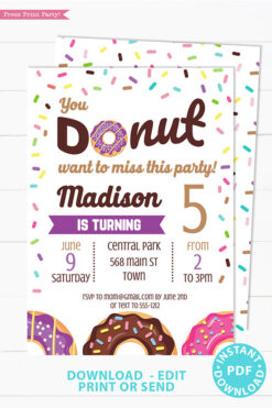 Donut party invitation instant download for printed and digital invitation with envelope label - Purple donut and sprinkles- Press Print party