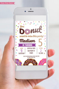 Donut invitation template for digital invitation for email - purple donut - Press print party