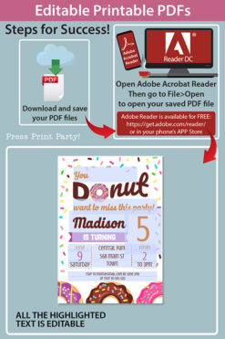 editable printable pdfs how do the invitation work in adobe reader. Purple donut invitation template editable download. Press Print Party