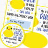 I'm a Lucky Duck to Have a Friend Like You Kids Valentine Card Printable, Blue, Gift Tag, School Classroom, Rubber Duck, INSTANT DOWNLOAD