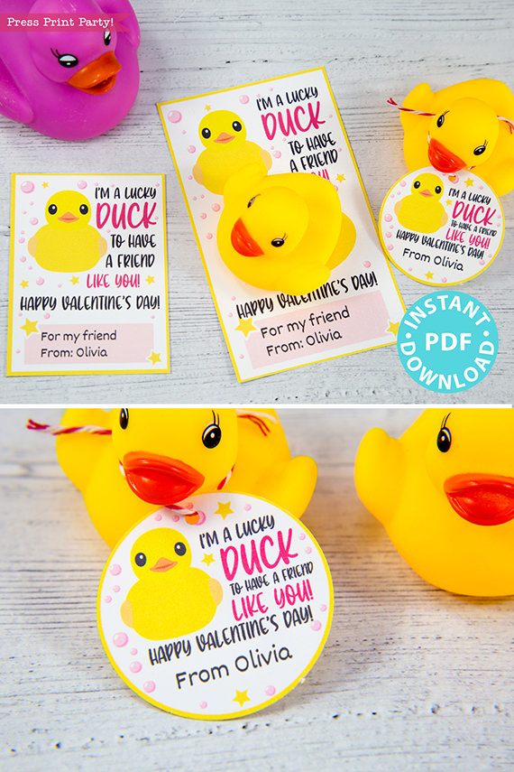 I'm a Lucky Duck to Have a Friend Like You Kids Valentine Card Printable, Pink, Gift Tag, School Classroom, Rubber Duck, INSTANT DOWNLOAD