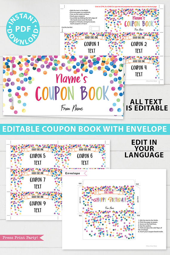 Birthday Coupon Books Printables homemade editable customizable confetti - blank coupon book for kids, boyfriend, girlfriend, ideas. Press Print Party!