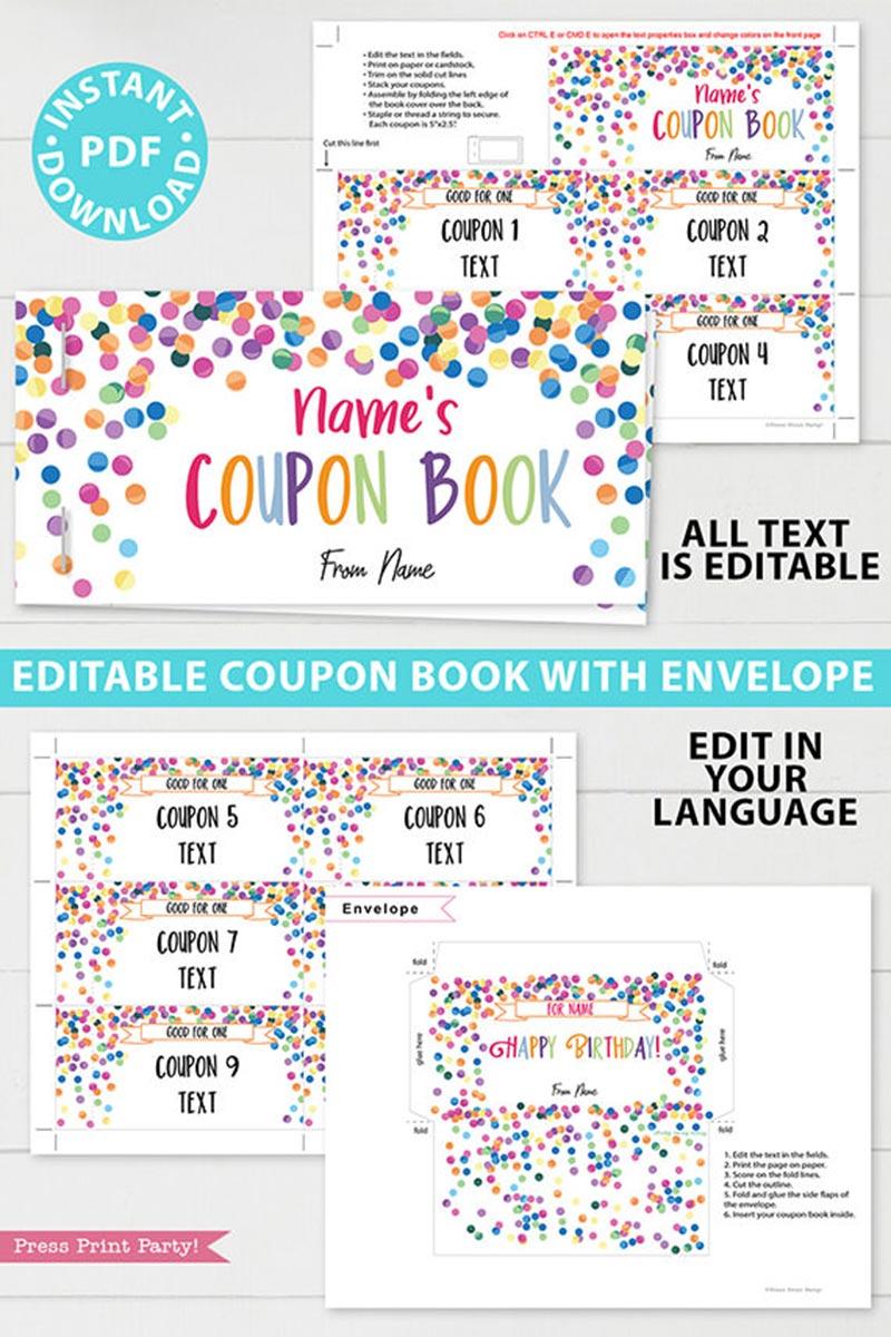 Birthday Coupon Books Printables homemade editable customizable confetti - blank coupon book for kids, boyfriend, girlfriend, ideas. Press Print Party!