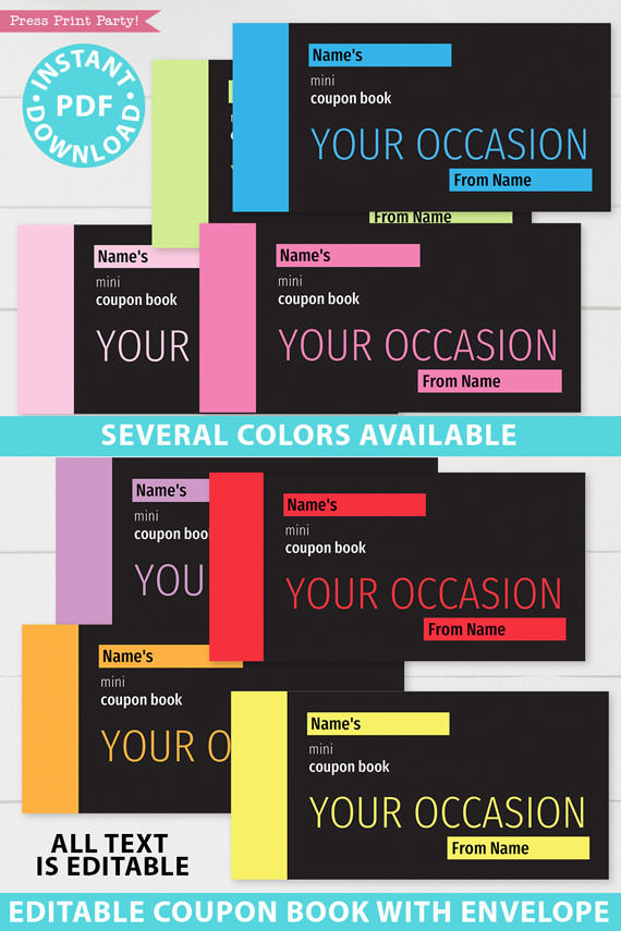 all 8 colors of the minimalist coupon books blank printable. green, blue, pink, light pink, purple, red, orange, yellow Press Print Party!