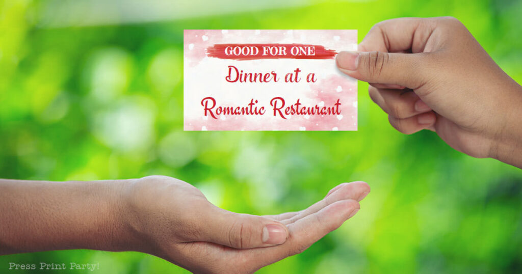 goof for one dinner at a romantic restaurant. couples love coupons printable. hand giving a coupon. Press Print Party!