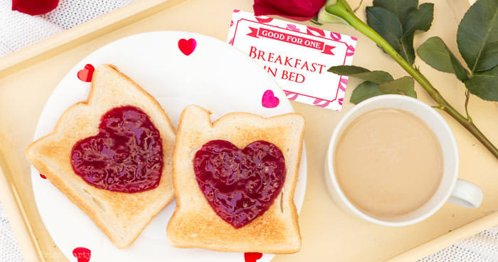 breakfast in bed coupon just for her. toast with jam with hearts and a red rose press print party