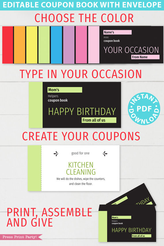 minimalist blank coupon book. choose the color, type in your occasion, create your coupons, print assemble and give. Press Print Party!