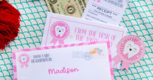 letters from the tooth fairy ideas and templates. tooth fairy letter with receipt, sticker and money. Press Print Party!
