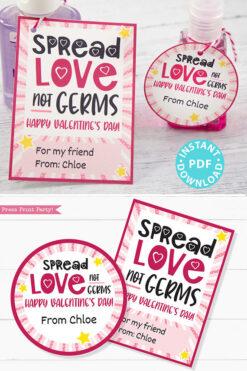 Kids Valentine Card Printable, Spread Love Not Germs Gift Tag For Friend, School, Teacher Valentine, Hand Sanitizer INSTANT Digital DOWNLOAD