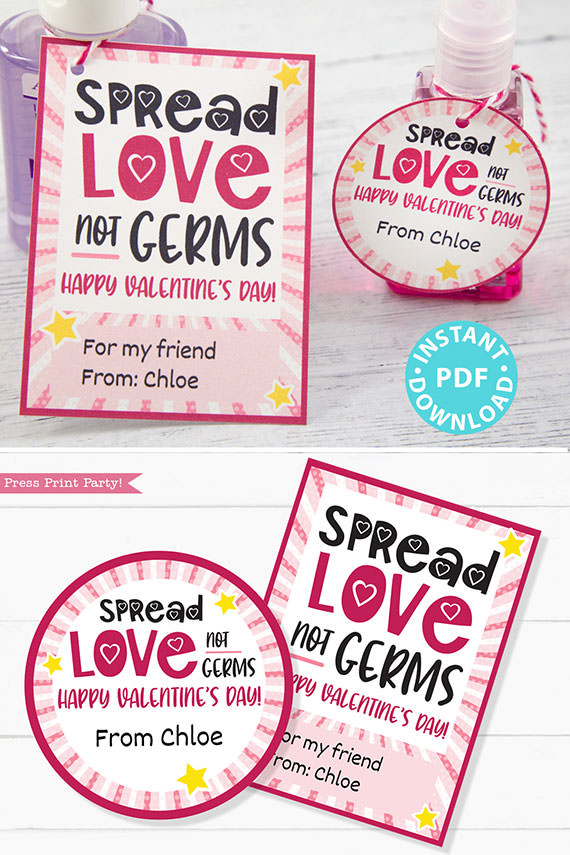Kids Valentine Card Printable, Spread Love Not Germs Gift Tag For Friend, School, Teacher Valentine, Hand Sanitizer INSTANT Digital DOWNLOAD