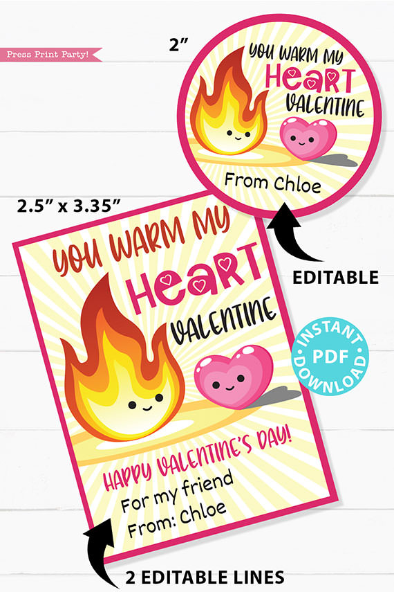 You Warm My Heart Kids Valentine Card Printable, Gift Tag For Friend, School, Conversation Hearts, Red Hots, INSTANT Digital DOWNLOAD