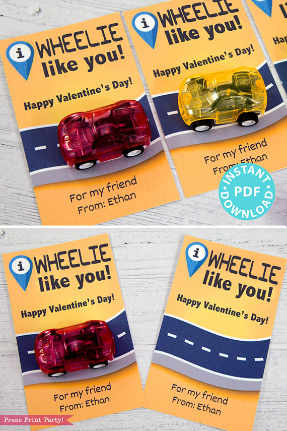 I Wheelie Like You Kids Valentine Card Printable, I Wheely Like You Gift Tag For Friend, School, Pull Back Cars, No Candy, INSTANT DOWNLOAD Press Print Party