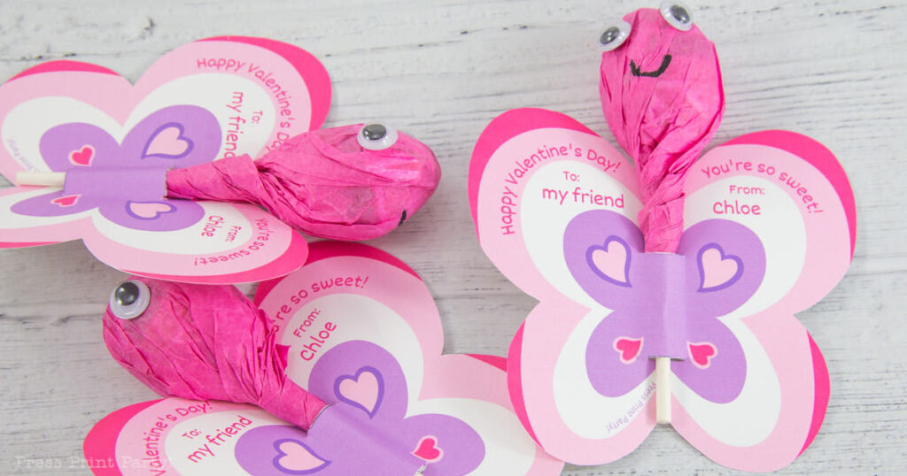 Cute free printable valentine's day cards for kids butterfly lollipops template printable to make for friends at school