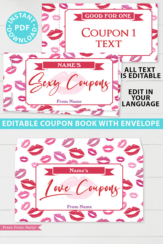 Sexy Love coupon book template blank for valentine's day - for wife, husband, boyfriend girlfriend. naughty coupons - kiss design - Press Print Party!