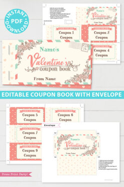 Valentine's day coupon book template blank - for wife, mom, girlfriend - rustic design - Press Print Party!