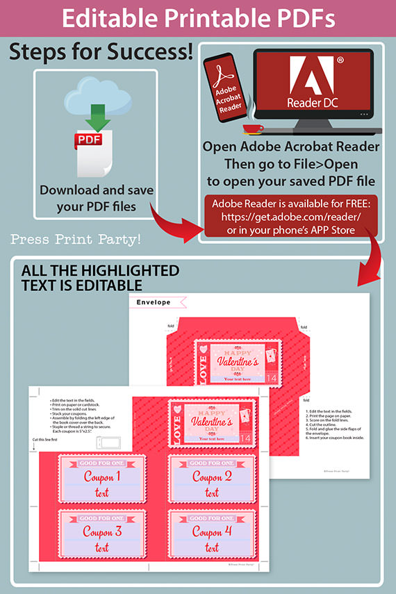 Valentine's day coupon book template blank - for wife, mom, girlfriend - old stamp rustic design - Press Print Party!