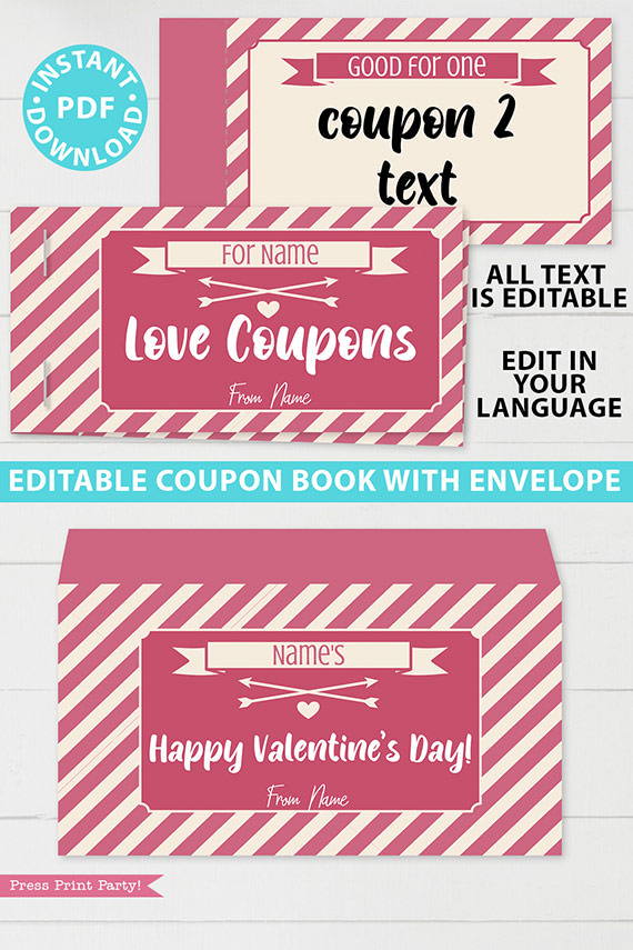 Sexy Love coupon book template blank for valentine's day - for wife, husband, boyfriend girlfriend. naughty coupons - striped design - Press Print Party!