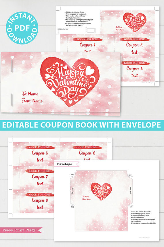 Valentine's day coupon book template blank - for wife, mom, girlfriend - watercolor heart design - Press Print Party!