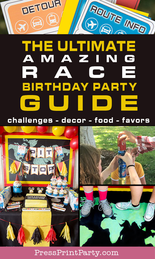 The ultimate the amazing race birthday party guide. challenges food decor favors