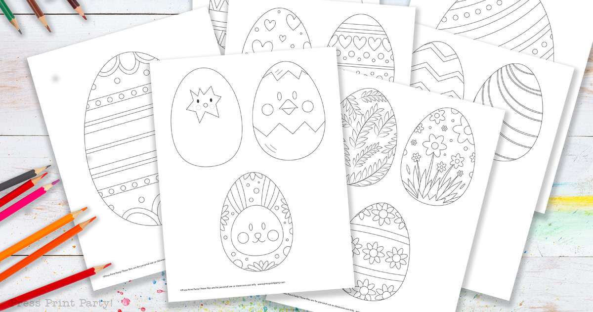easter egg coloring pages free printable template. coloring pages outline Press Print Party!