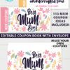 best mum ever mum coupon book template printale. editable with your own text. 110 mom coupon ideas included. with envelope sleeve. Press Print Party!