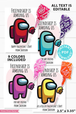 among us valentine card printable red, cyan, pink, yellow astronaut with lollipop. Friendship is among us. Happy Valentine's day. 9 colors. all text is editable. bonus round 2