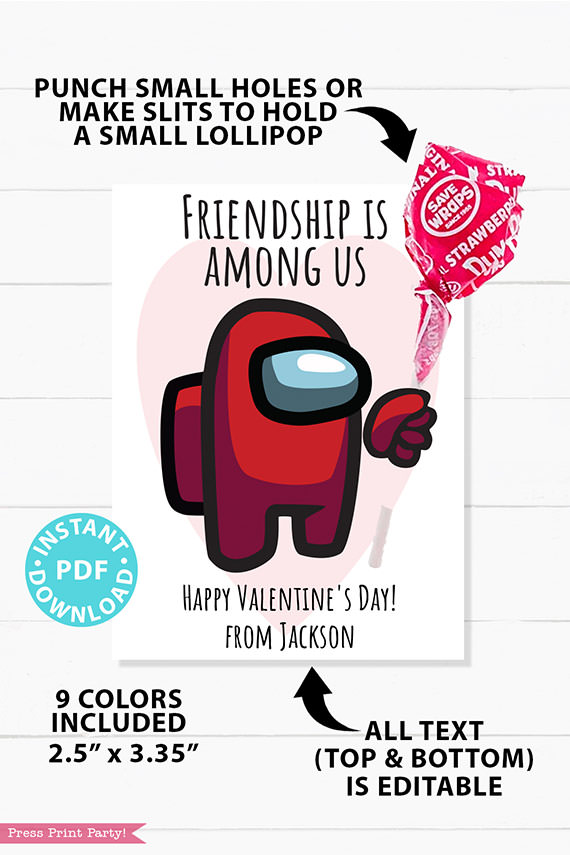 among us valentine card printable red astronaut with lollipop. Friendship is among us. Happy Valentine's day. 9 colors. all text is editable.