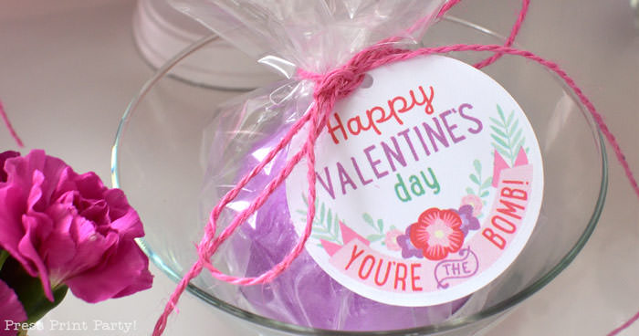 bath bomb valentines day tag for kids you're the bomb happy valentines day Press Print Party