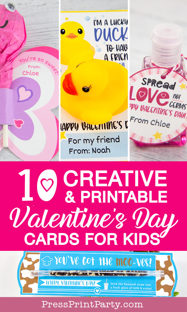 10 creative and printable valentine's day cards for kids kids valentines cards. butterfly, rubber duck, hand sanatizer milk straw press Print Party!