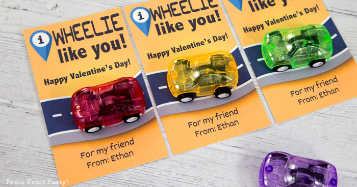 I wheelie like you valentine with pullback cars. creative valentines day kids cards for school press print party