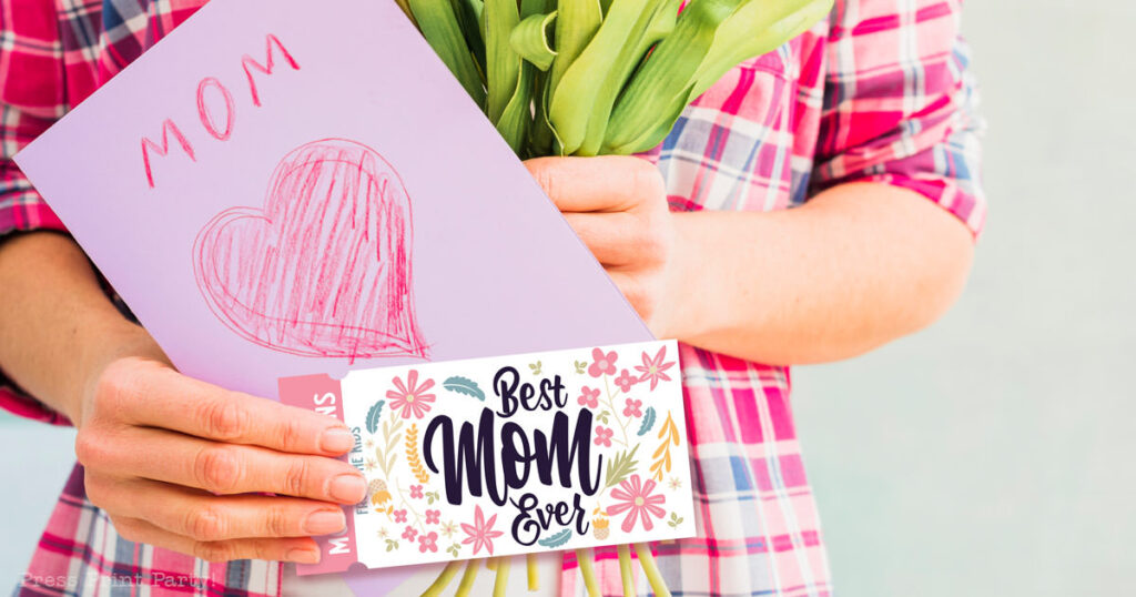 110 mother's day coupon ideas. mom holding a card and coupon book. Press Print Party!